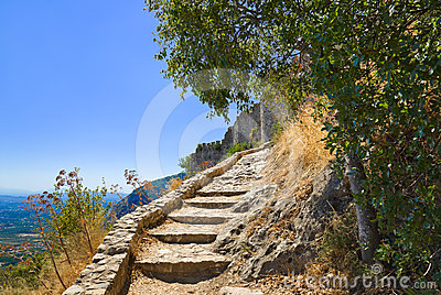 Stairs to old fort in Mystras, Greece