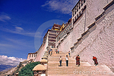 Stairs to Potala Palace, Lhasa Tibet Editorial Stock Image