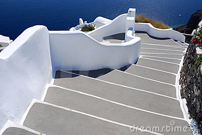 Stairs to sea, Santorini village of Oia, Greece