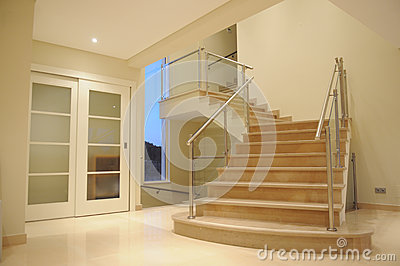 Modern Marble Staircase - Interior Mansion Lobby