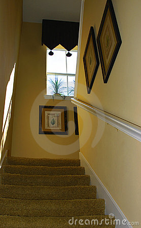Stairs to second floor of modern upscale home