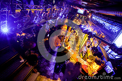 Stairs to second floor of the night club Editorial Stock Photo
