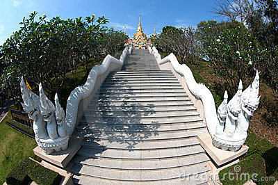 Stairs to temple on the hill.