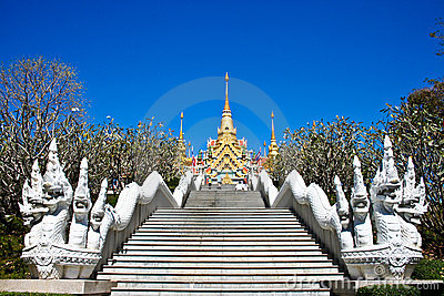 Stairs to the thai Temple on the mountains