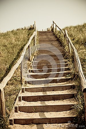 Stairs to the top of a dune