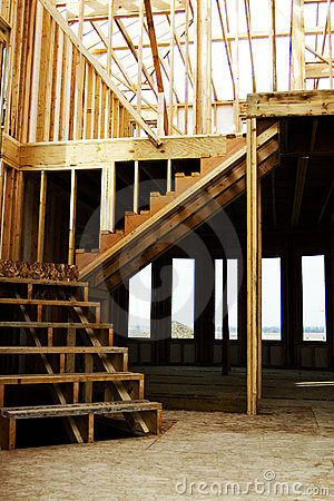 Free Stairs Wood Framed Home Construction Royalty Free Stock Photos - 1592938