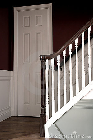 Stairway in Colonial American Style House Interior