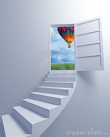 Stairway to the freedom and balloon