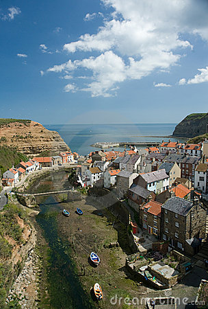 Staithes fishing port.