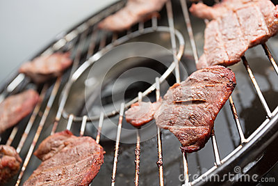 Stake on bbq grill