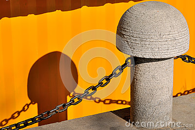 Stake with chain and shadow
