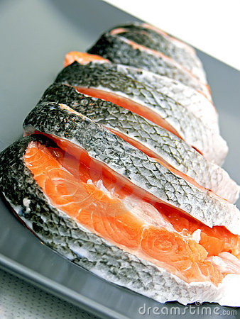 Free Stakes Of Salmon On Plate Stock Photo - 6964670