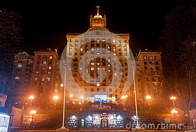 Stalinist Era Building on Khreshatyk Street Editorial Image