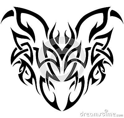 Stammes- Dämon in Schwarzweiss