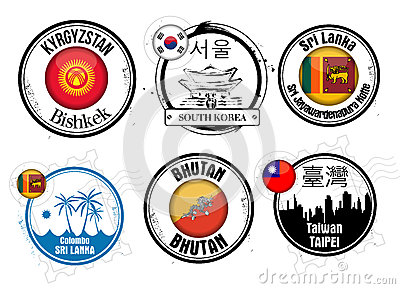 Stamp of Asian cities