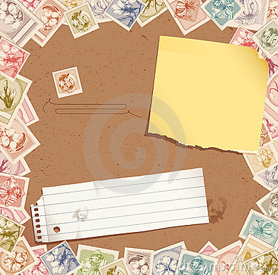 Stamp background with torn paper and post-it