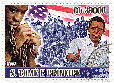 Stamp with Barack Obama Editorial Stock Image
