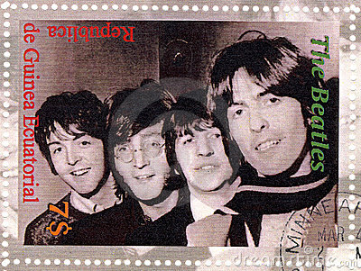 Stamp with Beatles Editorial Stock Photo