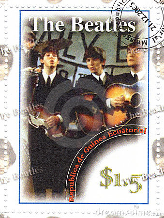 Stamp with The Beatles Editorial Image
