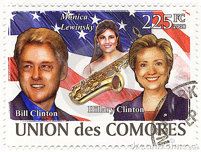 Stamp with Bill Clinton and wife Hillary Editorial Image