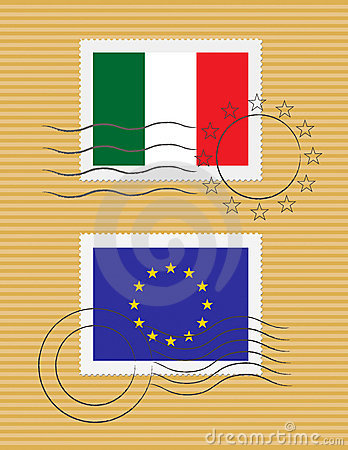 Stamp with flag of Italy