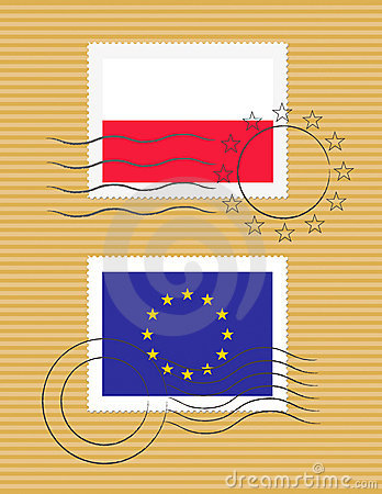 Stamp with flag of Poland