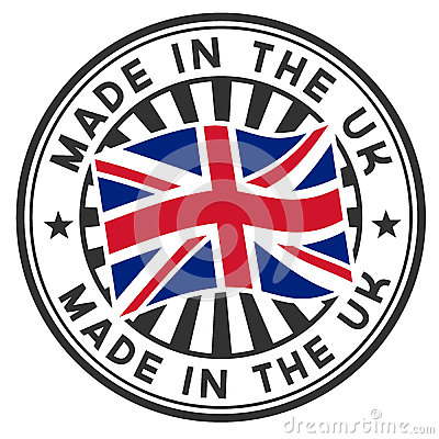 Stamp with flag of the UK. Made in the UK.