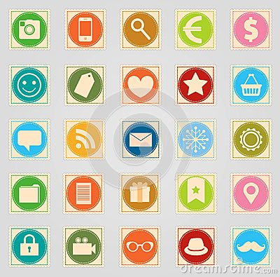 Free Stamp Icon Set Stock Images - 35306434