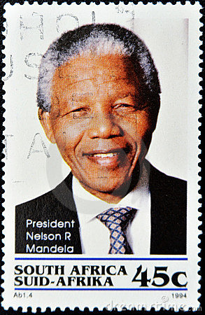 Stamp with Nelson Mandela Editorial Photo