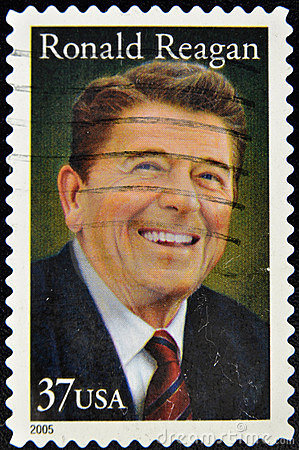 Stamp with President Ronald Reagan Editorial Image