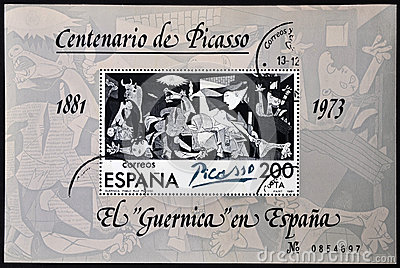A stamp printed in Spain shows painting by Pablo P