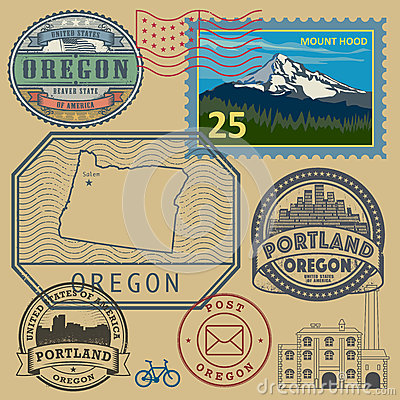 Free Stamp Set With The Name And Map Of Oregon Royalty Free Stock Photo - 66586265