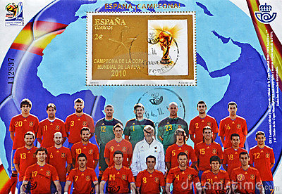 Stamp with Spanish football World Cup Champion Editorial Photography