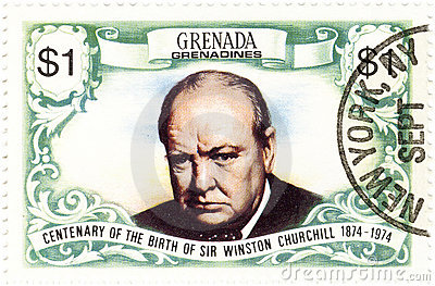 Stamp with Winston Churchill Editorial Photo