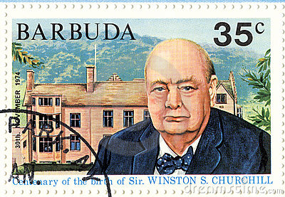 Stamp with Winston Churchill Editorial Stock Image