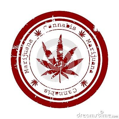 Free Stamp With Marijuana Leaf Stock Images - 20019794