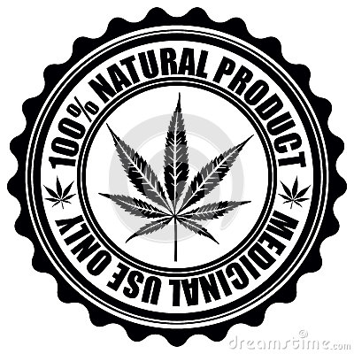 Free Stamp With Marijuana Leaf Emblem. Cannabis Leaf Silhouette Symbol. Vector Royalty Free Stock Images - 41623799