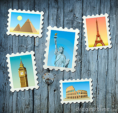 Stamps of famous landmarks