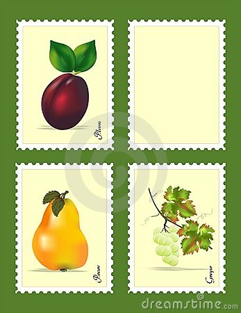 Stamps with fruits, cdr vector