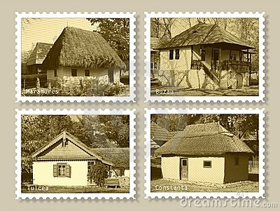 Stamps with old houses