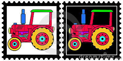 Stamps with tractor