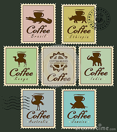 Free Stamps With Animals From Coffee Cup Royalty Free Stock Image - 77512036