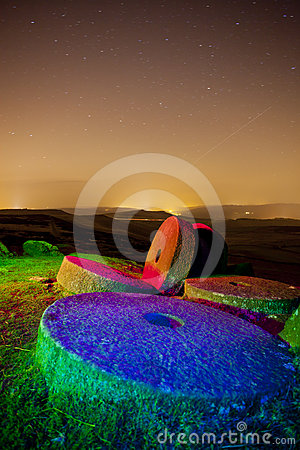 Stanage edge light painted