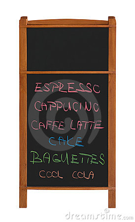 Stand chalkboard with two sections and menu cutout