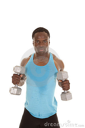 Stand holding weights in hands