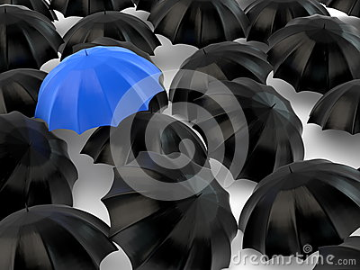 Stand out from the crowd - umbrella concept