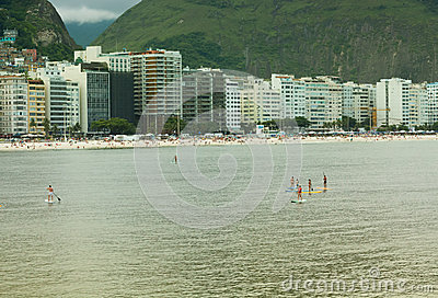 Stand Up Paddle in Copacabana Beach, Rio de Janeiro Editorial Photo