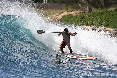 Stand Up Paddle surfing at Makaha Editorial Image