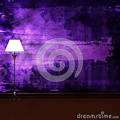 Standard lamp in dark minimalist interior