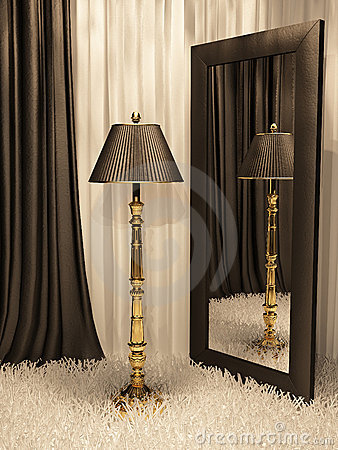 Standard lamp with mirror and carpet in interior
